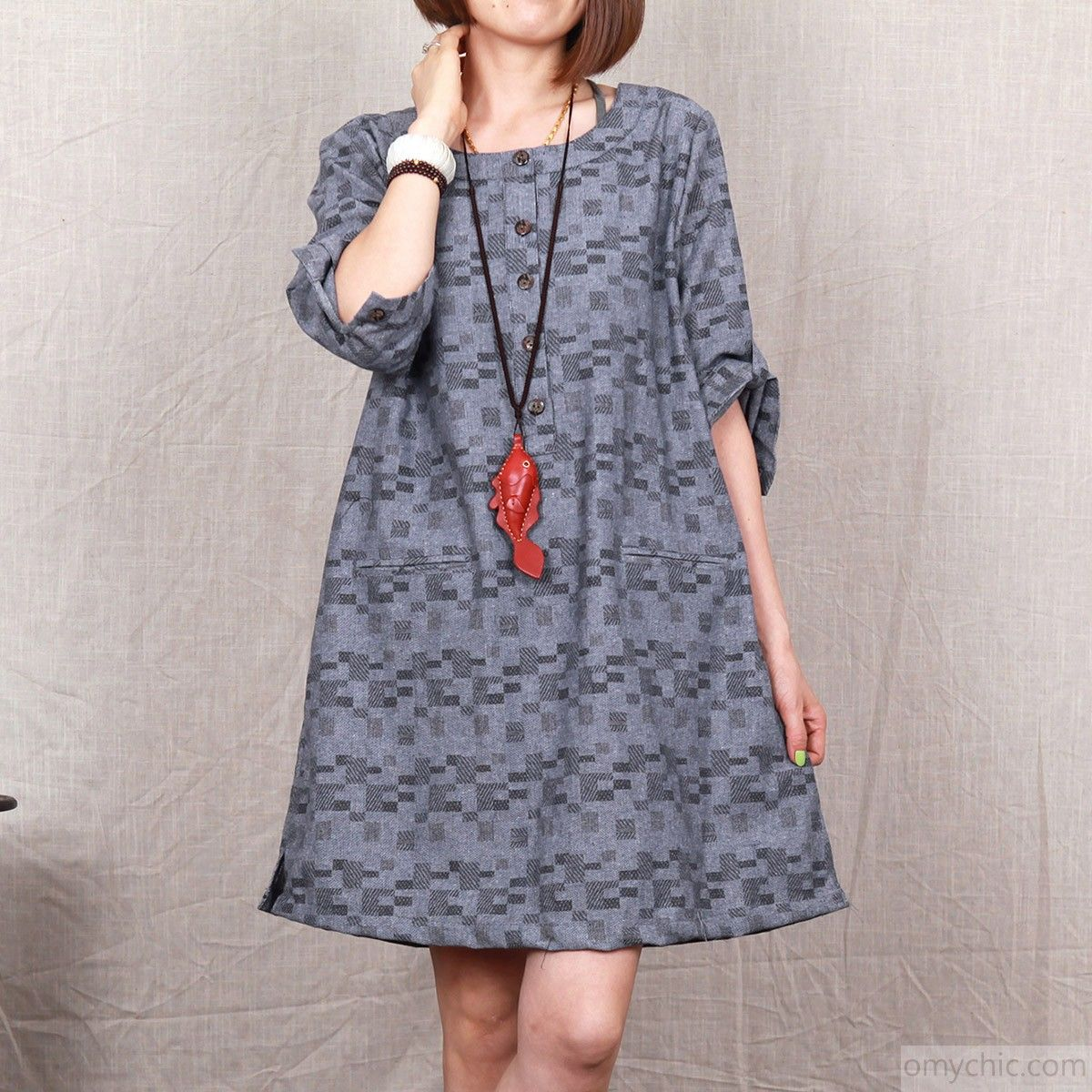 Dark grey floral cotton dress 2015 plus size cotton summer dress ...