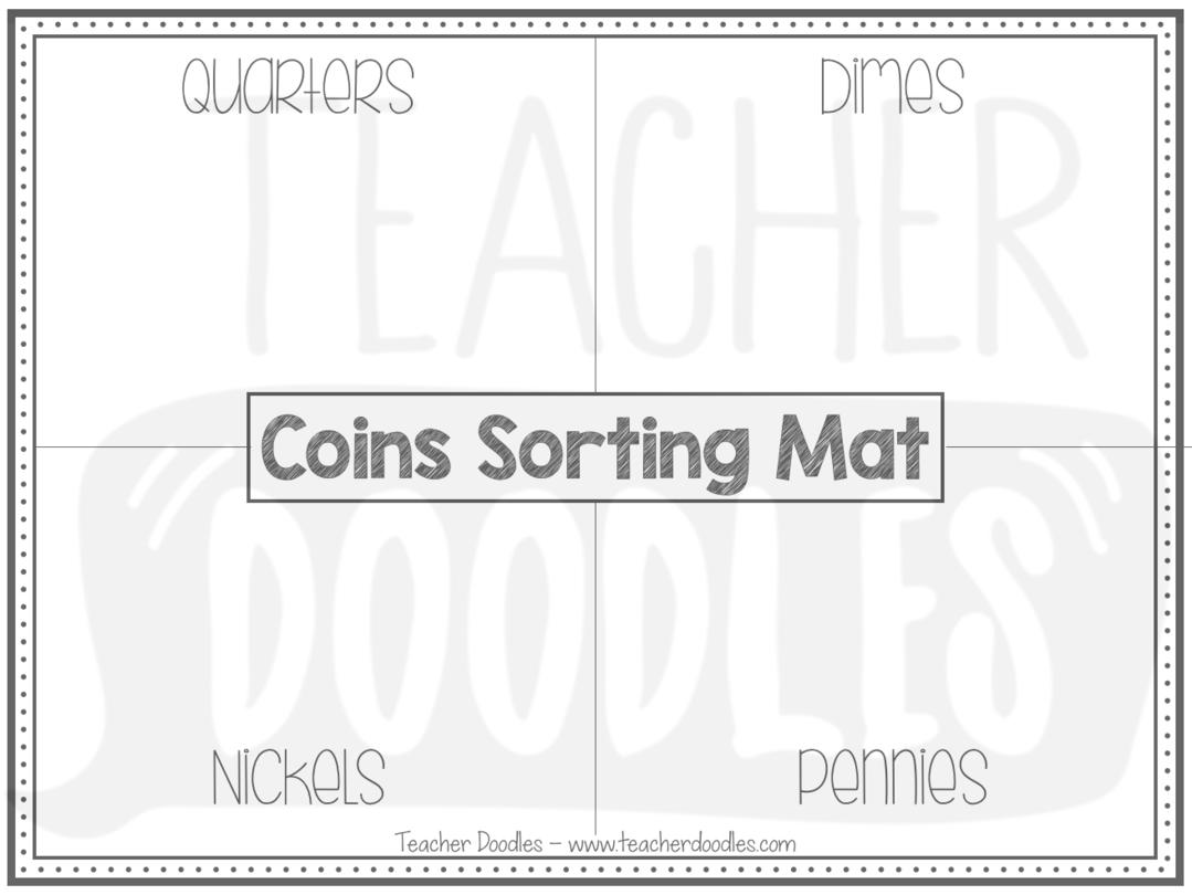 Freebie Coins Sorting Mat