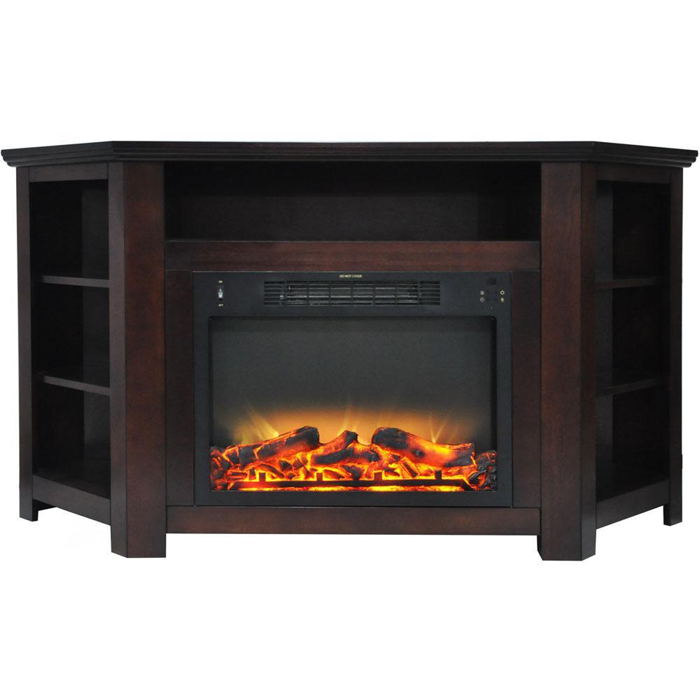 Cambridge Stratford 56 In Electric Corner Fireplace In Mahogany