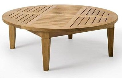 Teak Coffee Table With Umbrella Hole Teak Sack Round Table 48 Teak Patio Furniture Teak Teak Outdoor