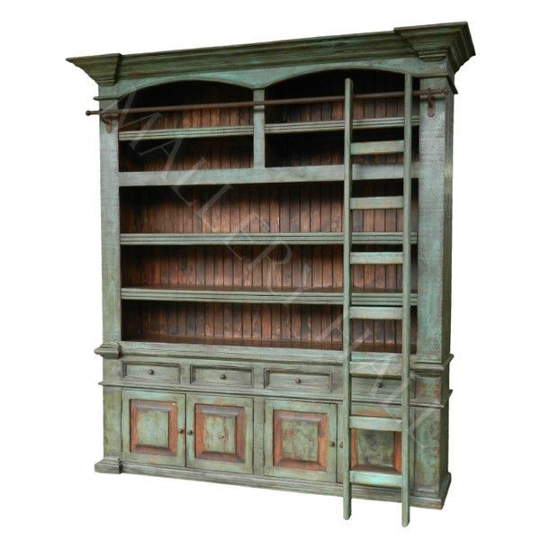 Old Solid Wood Distressed Turquoise Ladder Bookcase