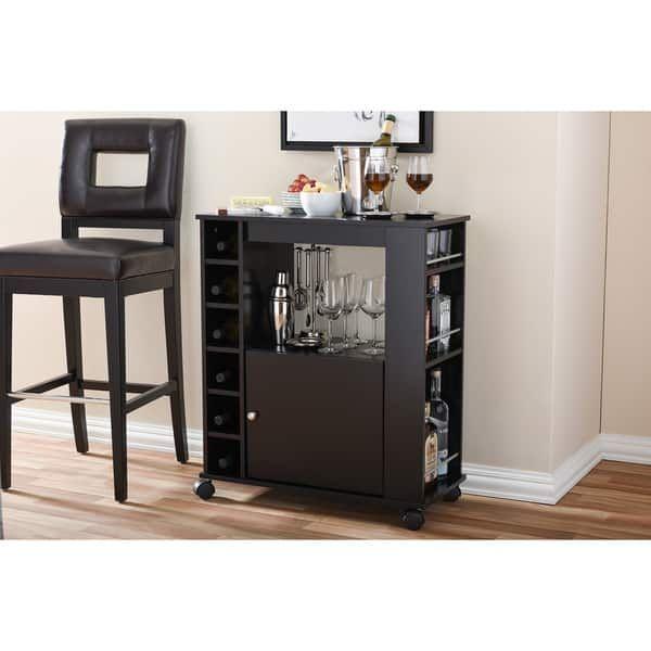 New Baxton Studio Modesto Brown Modern Dry Bar and Wine Cabinet