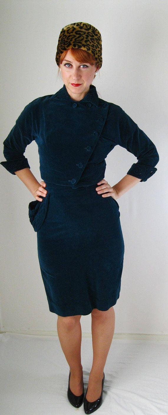 1950s Teal Blue Velveteen Suit Dress. Mad Men Fashion. Office ...