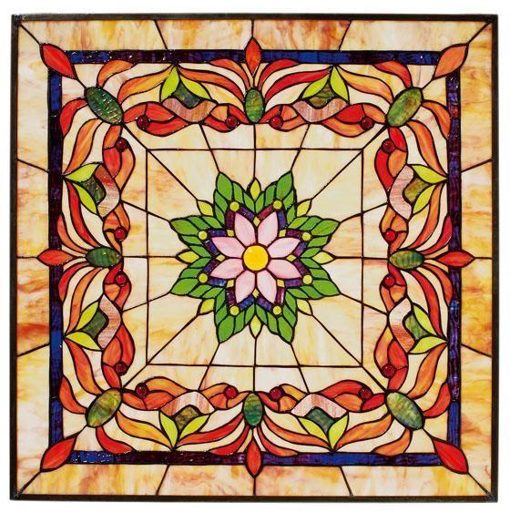 "Kaleidoscope 24"" Square Tiffany-Style Art Glass"
