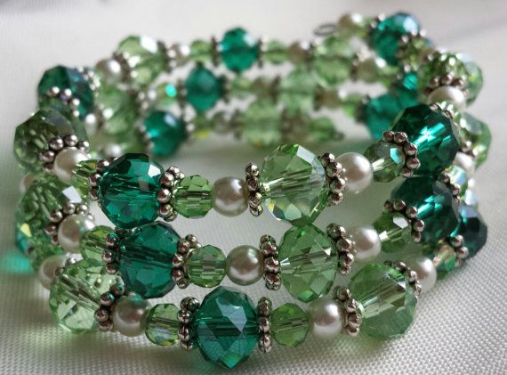 Green Memory Wire Bracelet by CinsWhims on Etsy