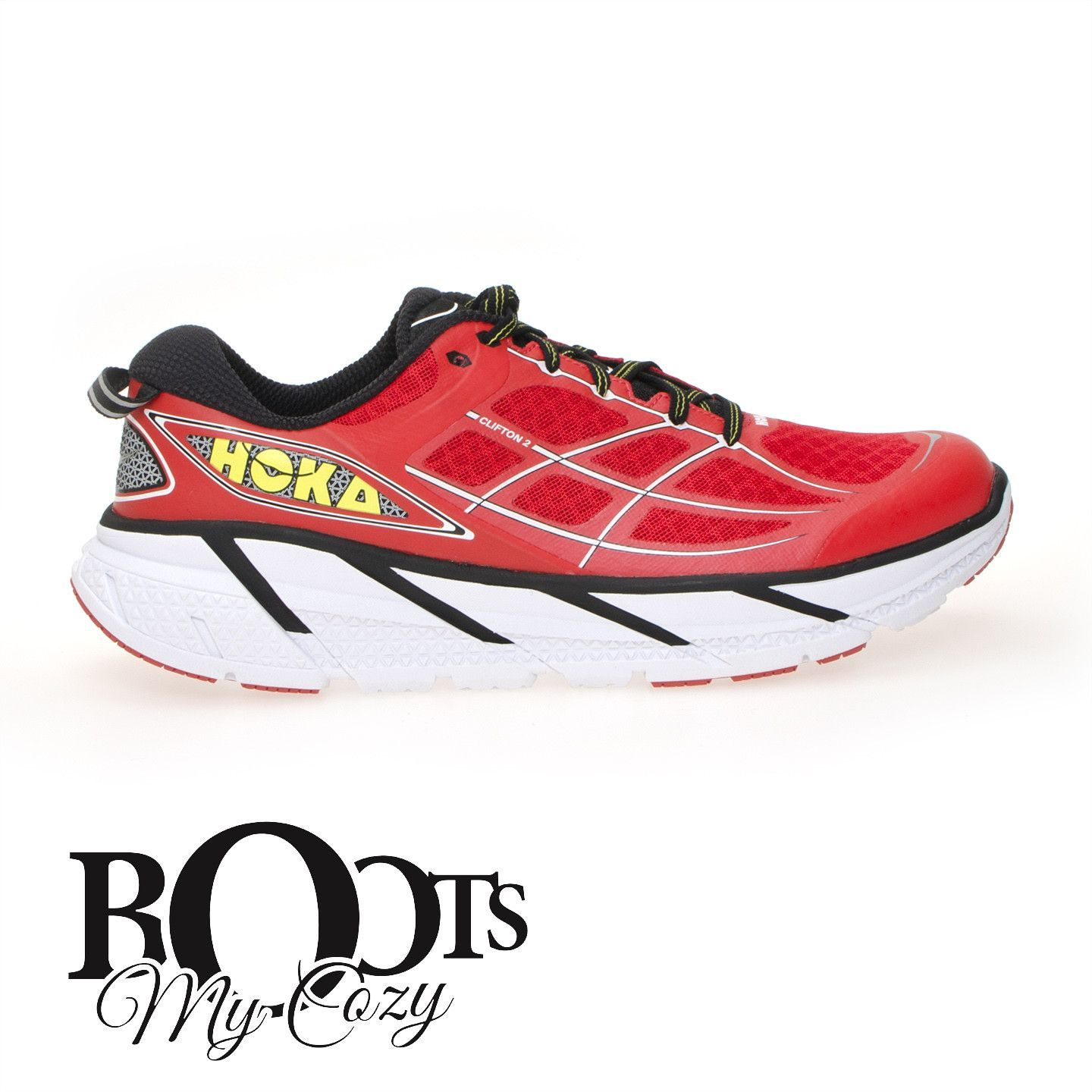 HOKA ONE ONE CLIFTON 2 POPPY RED / WHITE RUNNING SHOES - MEN'S