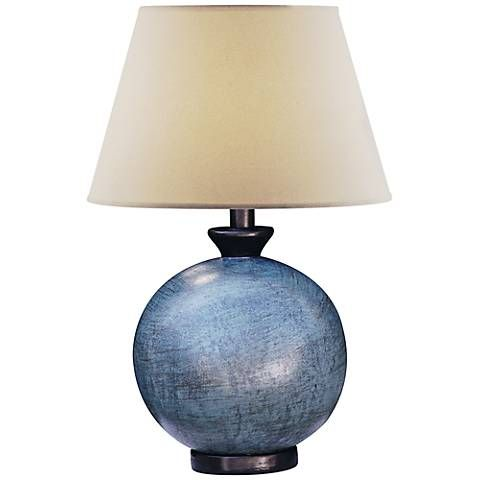 Pitkin Blue Round Table Lamp 5g075 Lamps Plus With Images Round Table Lamp Lamp Blue Lamp Shade