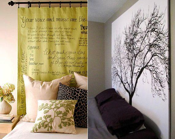 vorhang-kopfteil selber machen und schlafzimmer kreativ gestalten_ ... - Wandgestaltung Kreativ