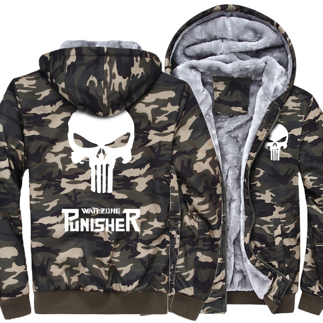 Camo Hoodie Friends 2017 Thick Jacket Men Funny Hoodies Homme Skull Tracksuit