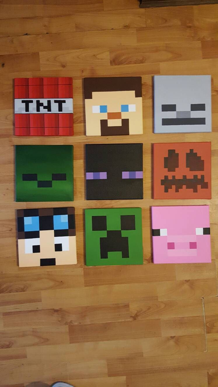 Minecraft Wall Art Set Of 9 Canvases Small 8 X 8 Minecraft Wall Minecraft Bedroom Minecraft Room