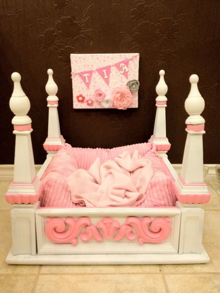 Princess Puppy Bed Made From Old End Table Puppy Beds