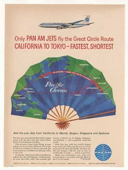 Pan Am Airlines Jet Great Circle Route to Tokyo (1960)