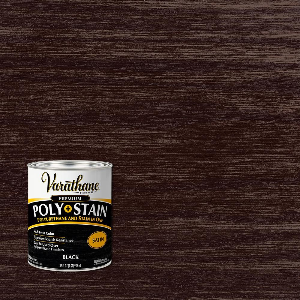 Varathane 1 Qt Black Satin Water Based Interior Wood Stain And Polyurethane 2 Pack In 2020 Interior Wood Stain Varathane Stain Interior