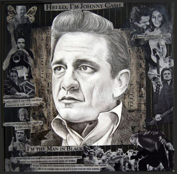 Johnny Cash Framed Drawing on Mixed Media Collage | Johnny cash ...