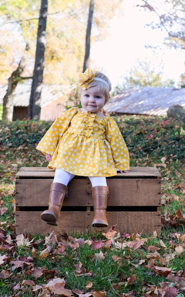Gold And White Polka Dot Peasant Dress Perfect For Fall Summer