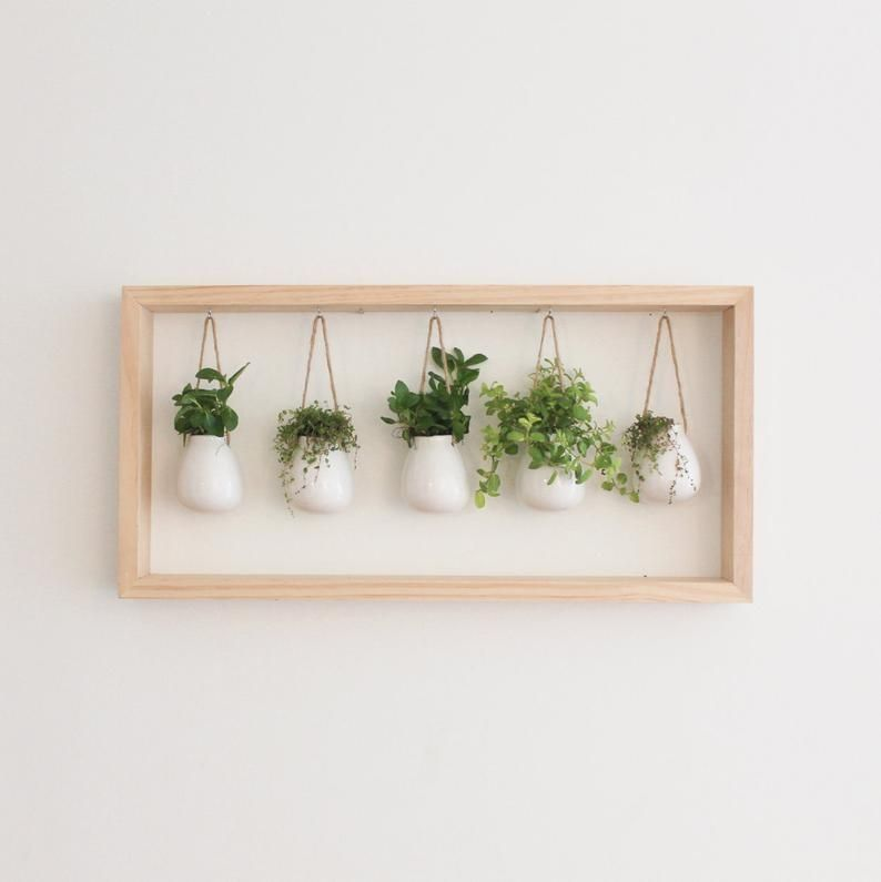 Indoor Herb Garden In Wooden Frame Wall Mount Planter Etsy