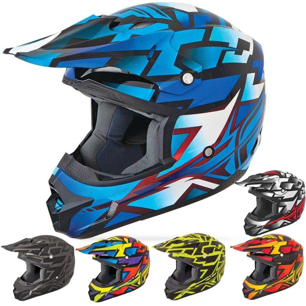 DP FLY Block Out Youth Motocross Helmets (With