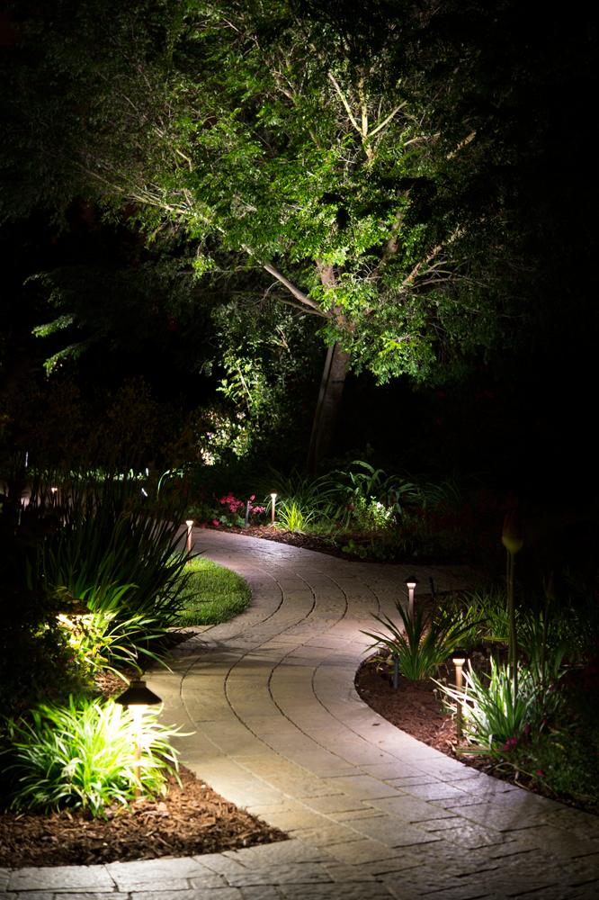 Dale protagonismo a los senderos de tu jardín usando iluminación sutil que guiará a tus invitados.