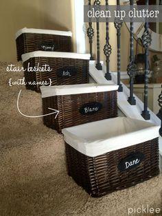 Stair Baskets + Ideas Stair Basket, Basket Organization, New Homes, Spring,  Organize