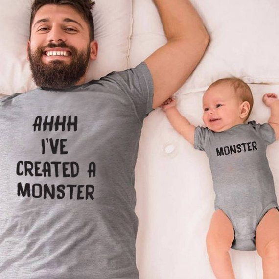 I've created a monster matching t shirts for father, mom and children il_570xN.1364988589_c4ng #babyclothing #childrenclothes #babyclothes #father