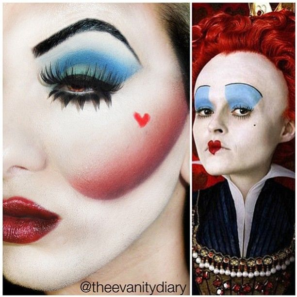 Theevanitydiary used Sugarpill false eyelashes in Daydreamer (top) and  Porcelain (bottom) to complete his incredible Queen of Hearts inspired look.