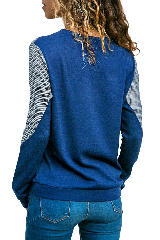 Dark Blue Color Block Round Collar Sweatshirt Clothes Collared Sweatshirt Sweatshirt Fashion [ 1500 x 1001 Pixel ]