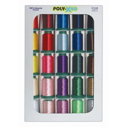 Embroidery thread Poly basic thread assortment.  Find the kit at Jenny's Sewing Studio. http://cart.jennys-sewing-studio.com/index.php?main_page=index&cPath=373_433
