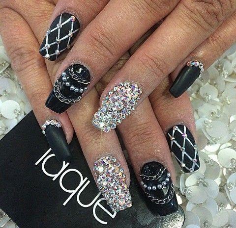 Matte black, White fishnet, Chains \u0026 Rhinestones