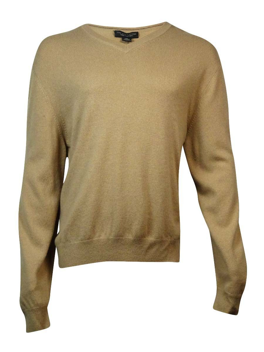 The Men's Store Men's V-Neck Knit Cashmere Sweater (XXL, Camel ...