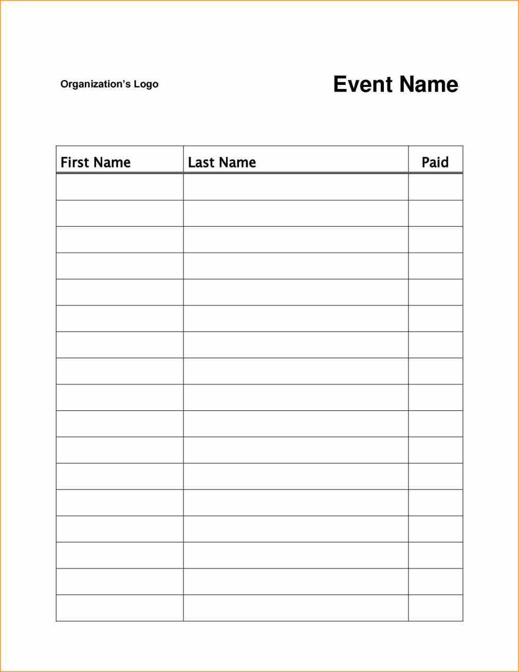 Event Or Class Workshop Forms A Sign Up Sheet Template Word Simple Signup Sheet With Room For Names And Sign In Sheet Template Sign In Sheet Sign Up Sheets