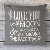 Ich liebe dich bis zum Mond und zurück und rund um die Rennstrecke Kissen von 4... - Rennsport #sportcars