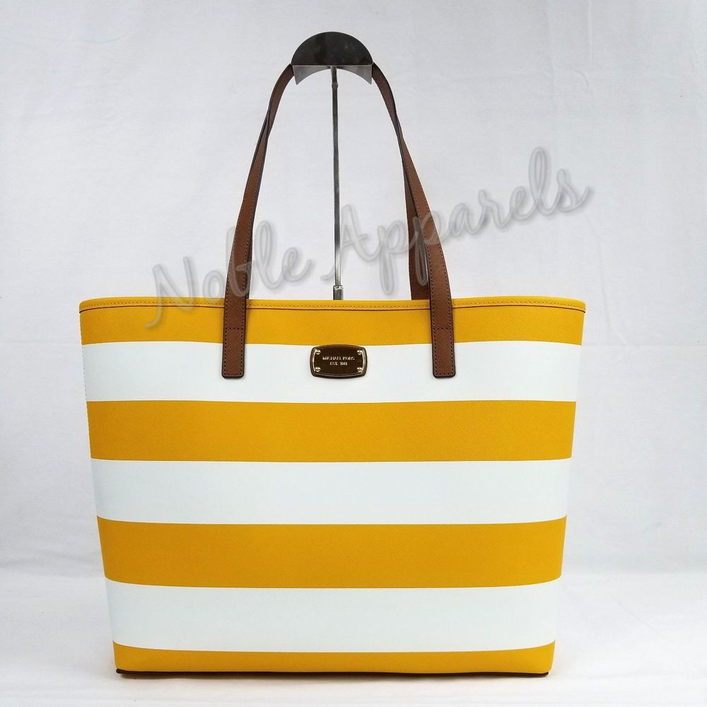 Michael Kors Jet Set Travel Stripe Medium Tote Saffiano Leather Sun   White  190049122556  c2dcd1a367fdc