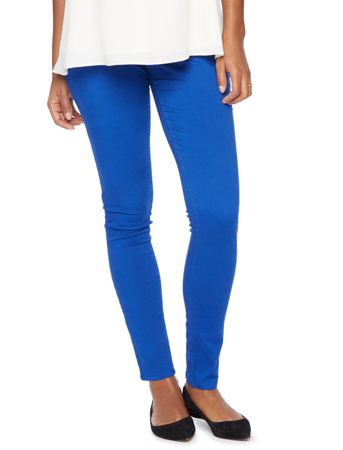 19b1d66fb1c93 Stand out in this blue hue | Secret fit belly sateen 5 pocket skinny leg  maternity pants by Motherhood Maternity