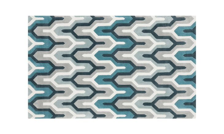 Cool Shades Of Blue Grey And Ivory Interlock In A Zig Zag