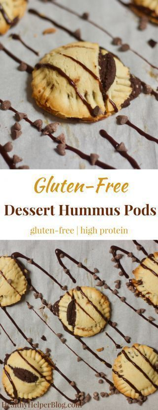 Gluten-Free Dessert Hummus Pods #desserthummus Gluten-Free Dessert Hummus Pods | Healthy Helper @Healthy_Helper Bite-sized mini pies filled with decadent brownie batter dessert hummus! You will love the flaky, buttery crust and sweet, creamy filling in these delectable bites of yum. Gluten-free high i #desserthummus