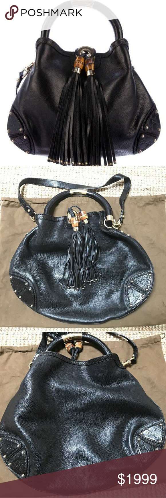 ccae8ee8c7af59 Gucci Babouska Indy Bamboo Tassel Hobo Black Crafted in monogram embossed black  leather, it features black leather tassels with metal bamboo beads, ...