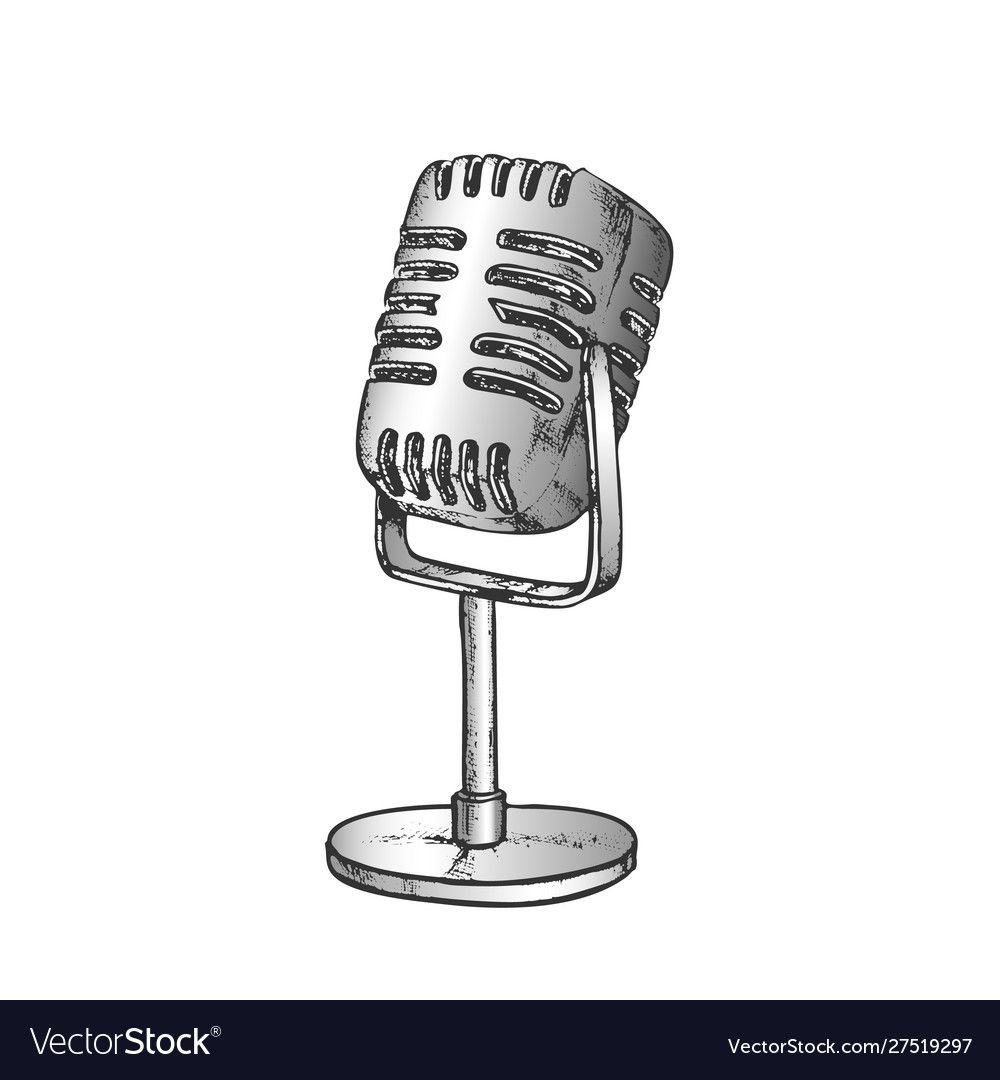 Retro vocal radio microphone color Royalty Free Vector Image