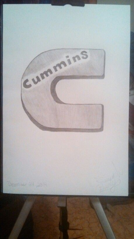 Drawed the cummins logo for brother.