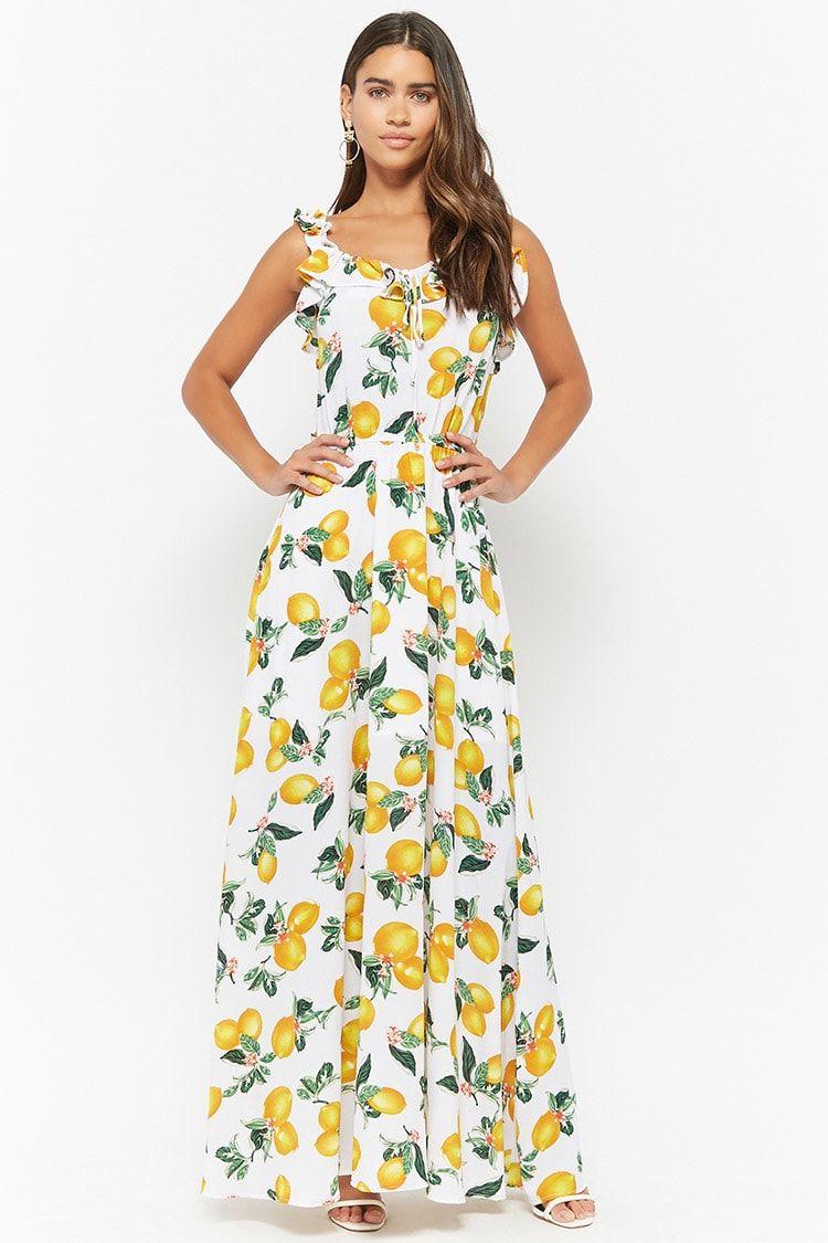Eta Lemon Print Maxi Dress Forever21 Lemon Print Dress Maxi Dress Lemon Dress [ 1125 x 750 Pixel ]