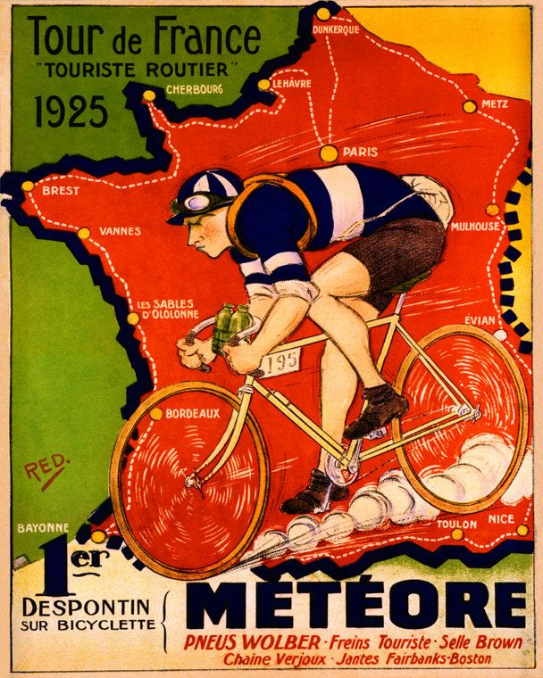 Tour de France 1925. Poster Metéore