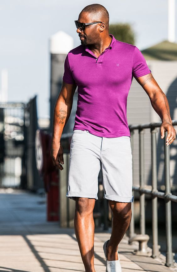f6feba83006 Pink Polo styled with Light Grey Shorts and White Shoes