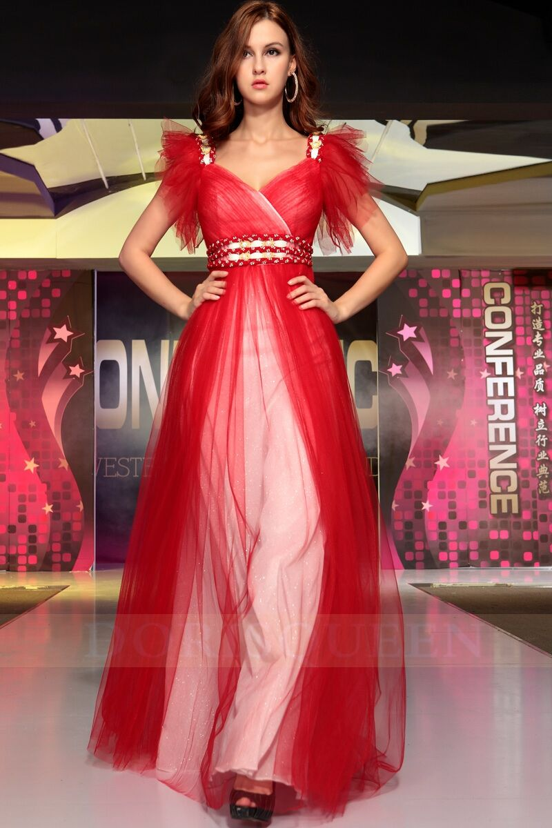 red long V-neck Christmas party dresses 2014 | gorgeous provence ...