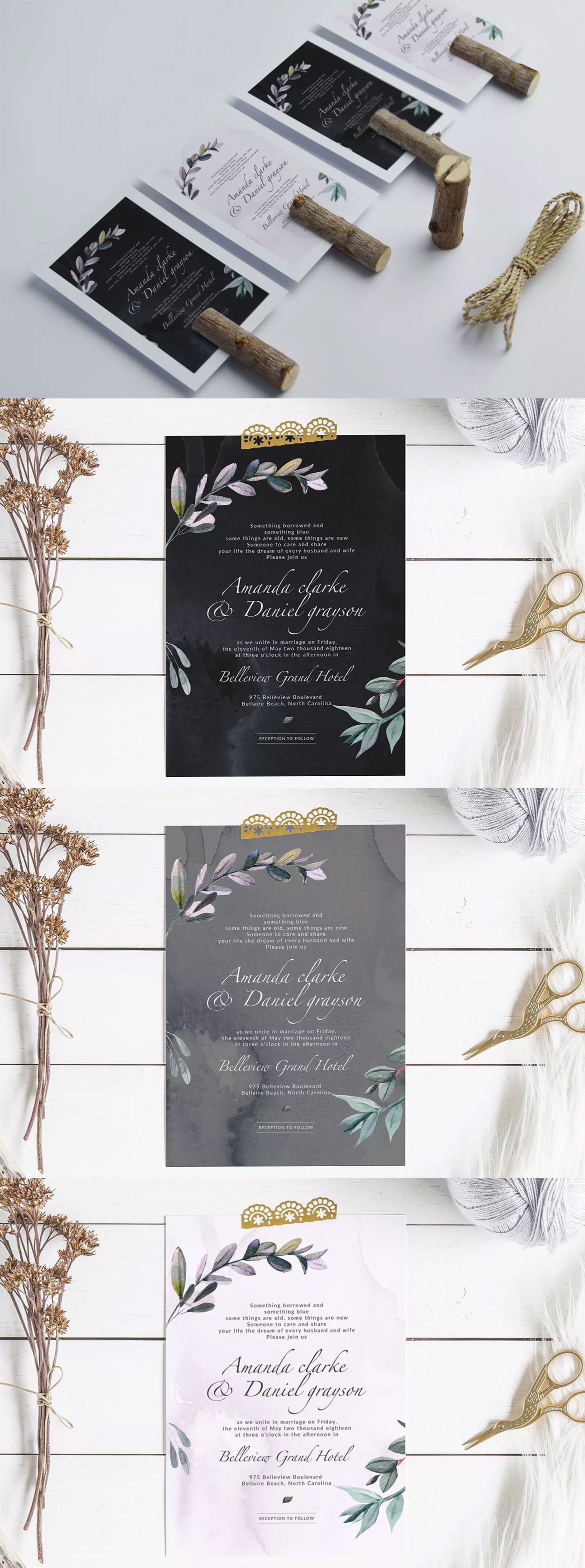 "Botanical Wedding Invitation Template PSD - 5"" x 7"" Invitation Card (size with bleed is .25"") - You can easily edit & customise each of the design because ..."