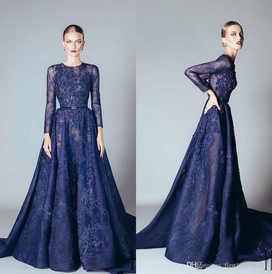 Cheap Elie Saab Dresses Dark Navy Full Lace Long Sleeves Sheer ...