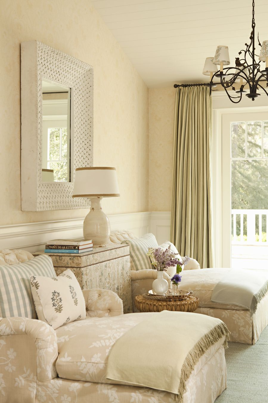 My favourite colour scheme/patterned fabric idea for the bedroom. I especially like the neutral colours of the walls, tapestry chairs and curtains. Would use this scheme in the bedroom. Something similar to the chair fabric could be made into a comforter cover. Lee Ann Thornton Design