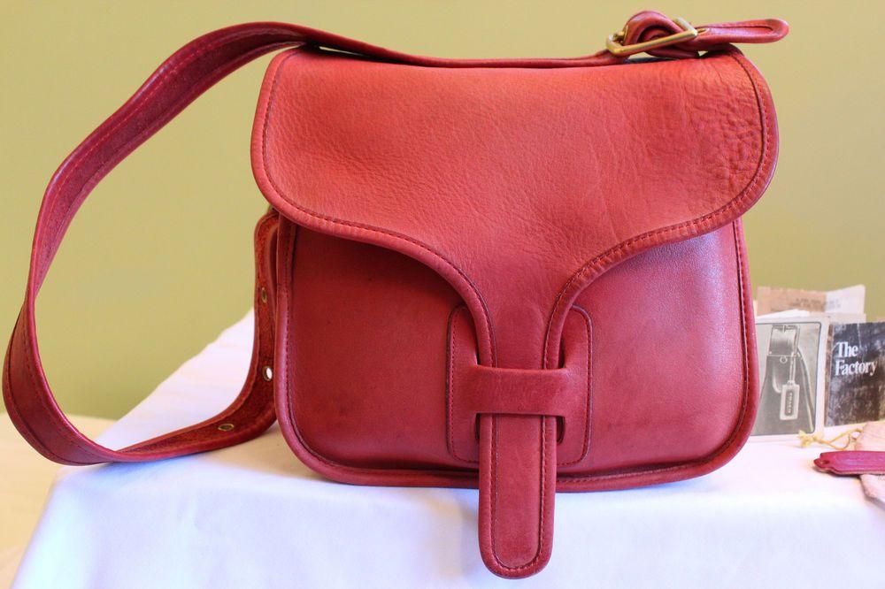 9cef35dbde5501 Coach Vintage RED Leather Bonnie Cashin Large Courier Flap Messenger Bag  RARE #Coach
