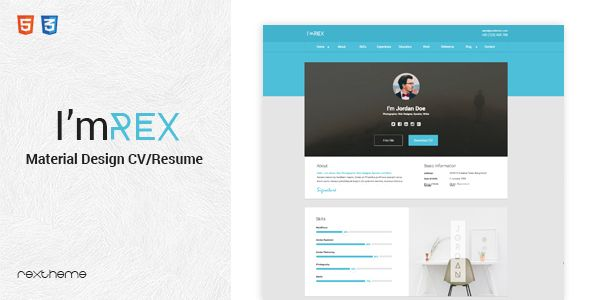 Resume Website Template Awesome I'mrex  Material Cv  Resume  Themestemplates  Pinterest