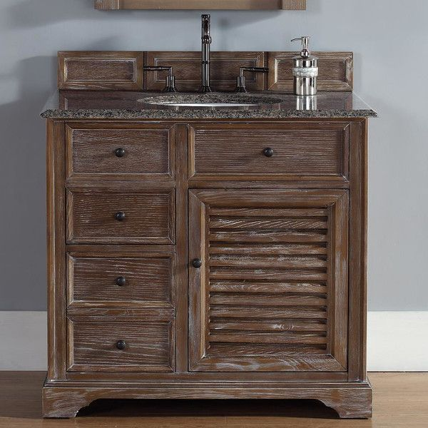 Abstron 36 Inch Bathroom Vanity In Driftwood Finish, Tropical Brown Granite  Top