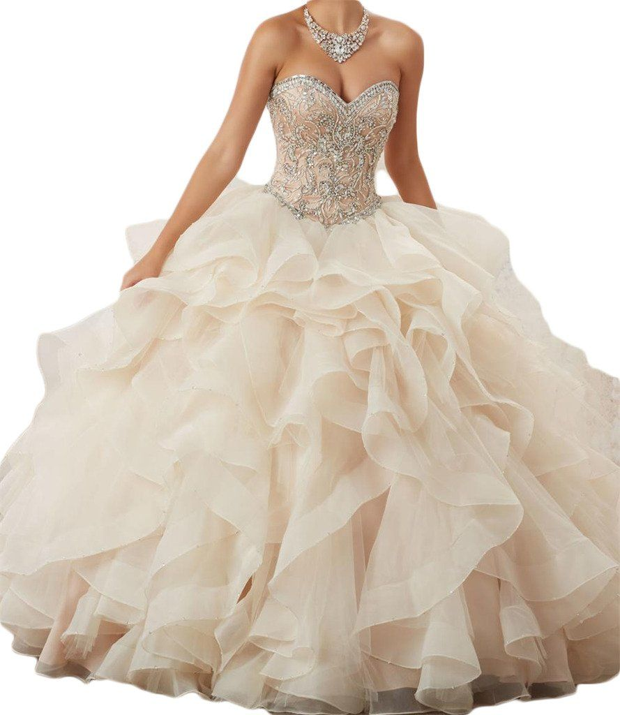 BanZhang Women s Puffy Ball Gown Quinceanera Dresses With Jacket Sweetheart  363 Ivory 8. Item Material organza. Sweetheart beads organza puffy ball gown  ... 526a3c0d3