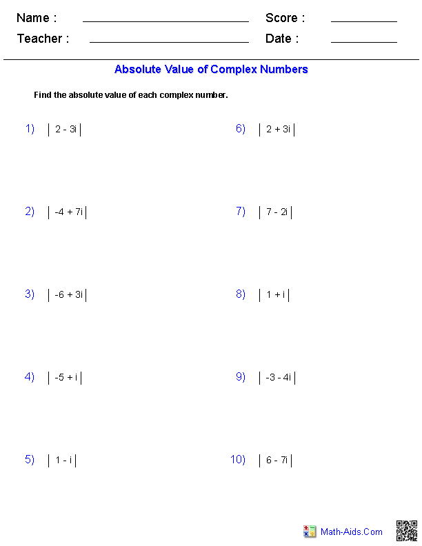 Absolute Value Complex Numbers Worksheets | Math-Aids.Com